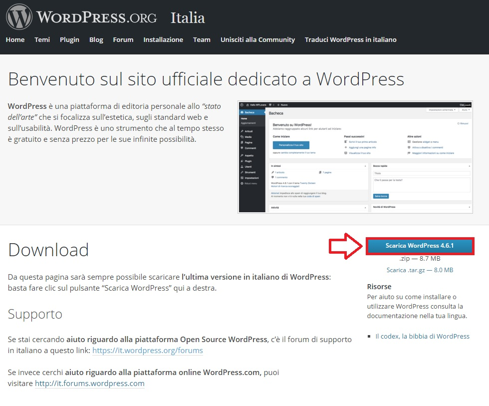 Scarica WordPress - Installare WordPress