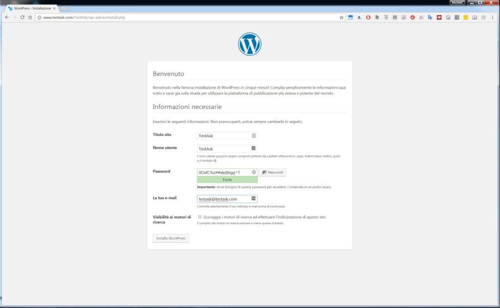 Connessione alla prima installazione - Installare WordPress