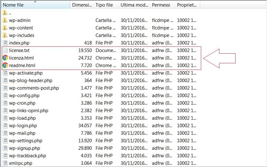 File da eliminare dopo installazione - Installare WordPress
