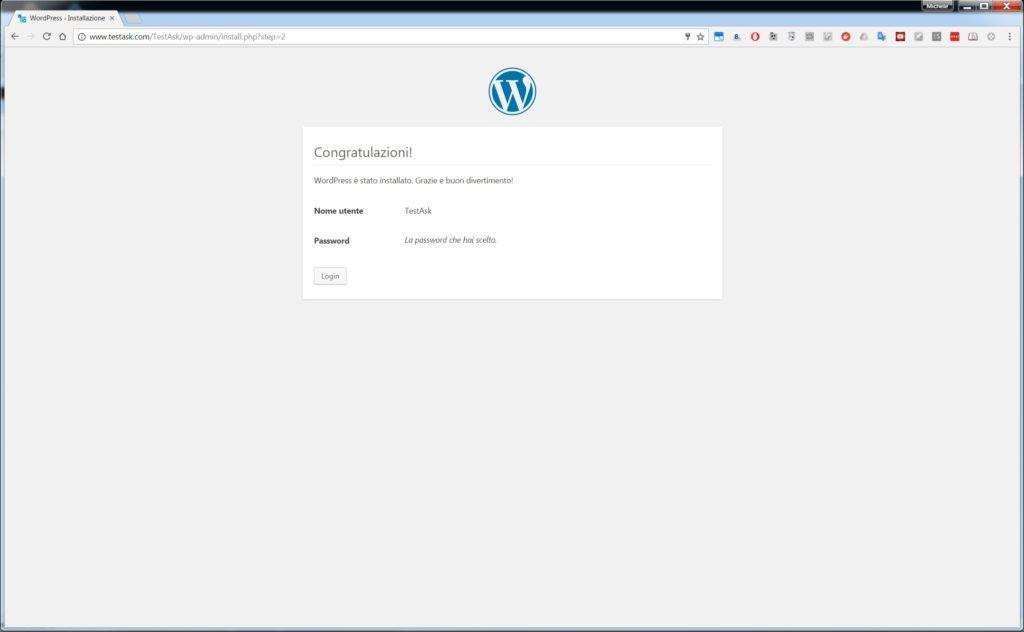 Installazione avvenuta - Installare WordPress