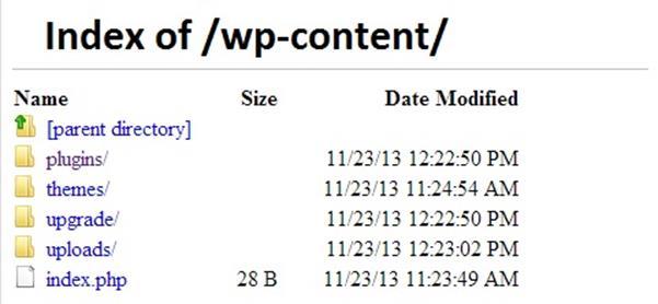 Browsing Folder - Sicurezza WordPress