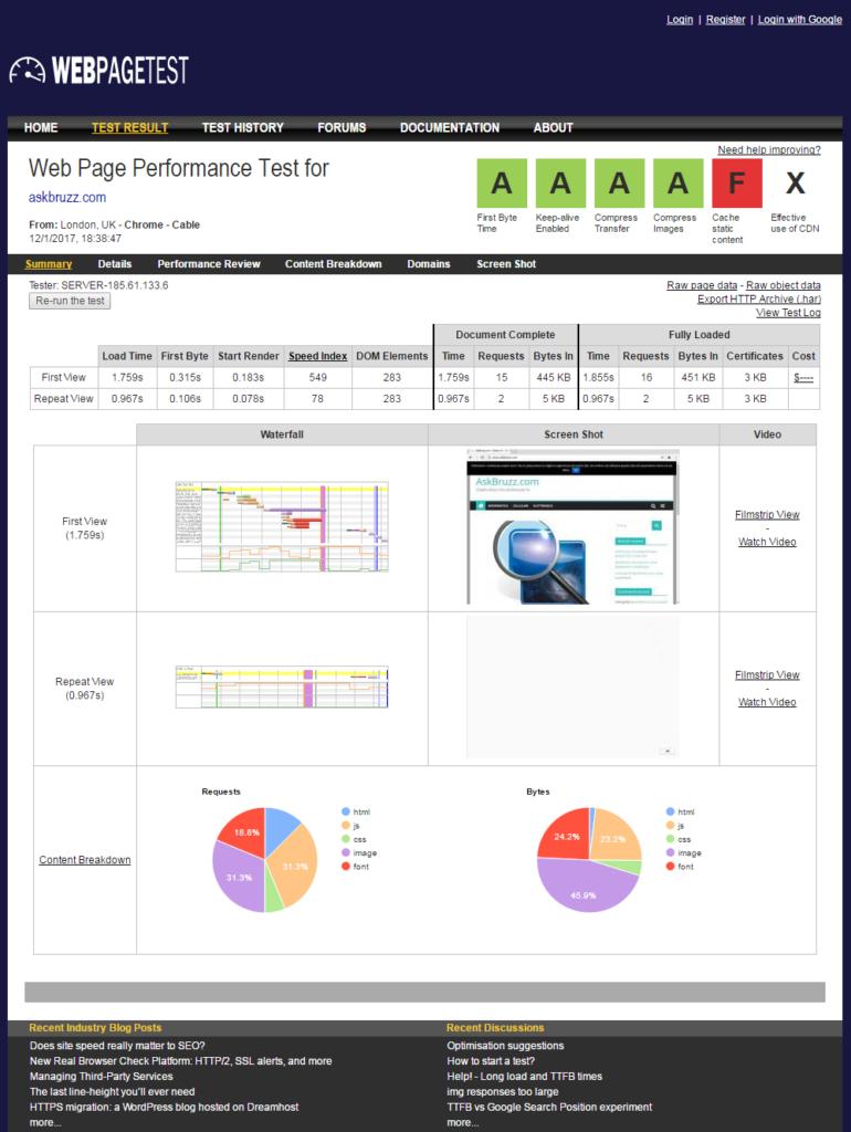 Webpagetest - Tool online per testare il proprio sito