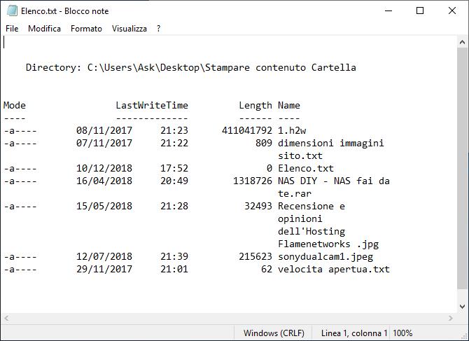Come stampare un elenco dei file di una cartella - Elenco no sottocartelle - windwos 10