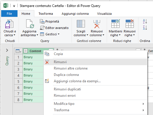 Come stampare un elenco dei file di una cartella - Excel - Rimuovi Colonna Content