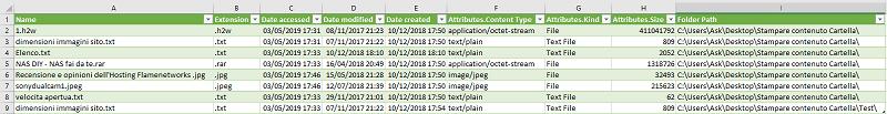 Come stampare un elenco dei file di una cartella - Excel - Risultato