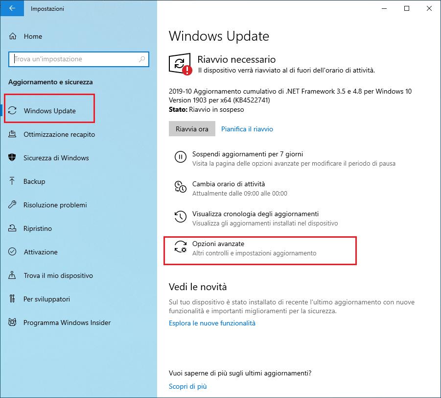 Come disattivare aggiornamenti windows 10 - Passo 1 - Opzioni avanzate