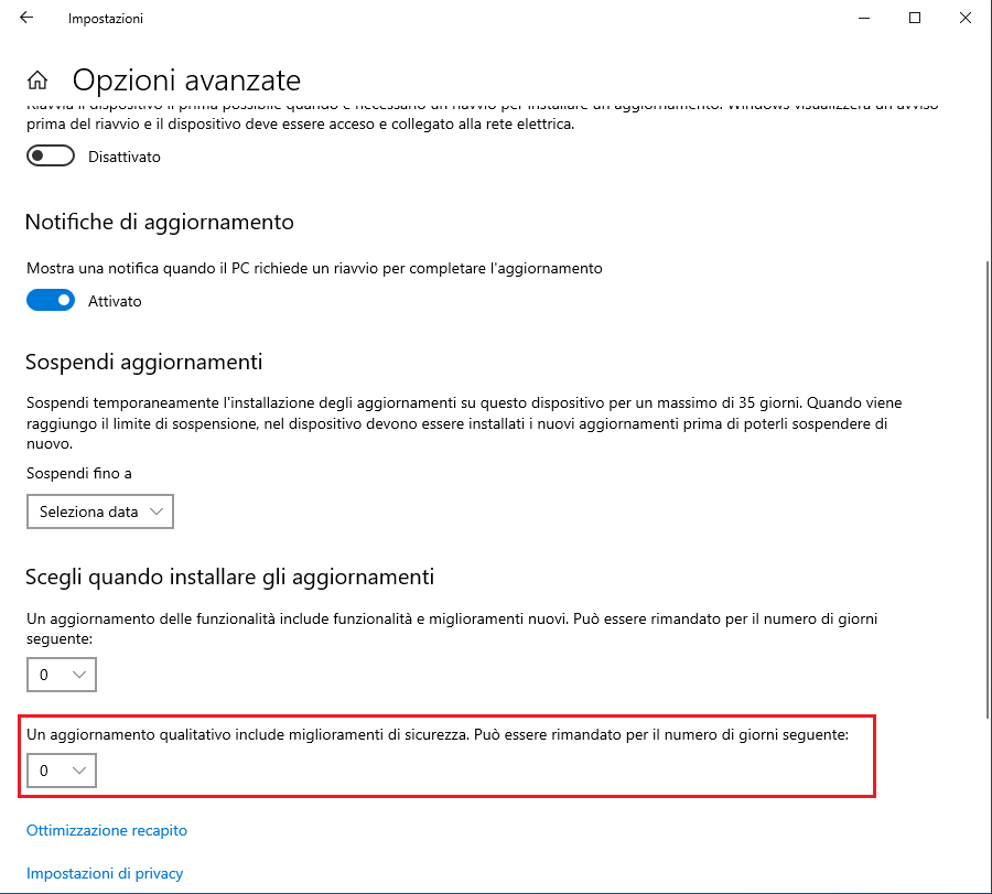 disattivare aggiornamenti windows - Sospendi sicurezza