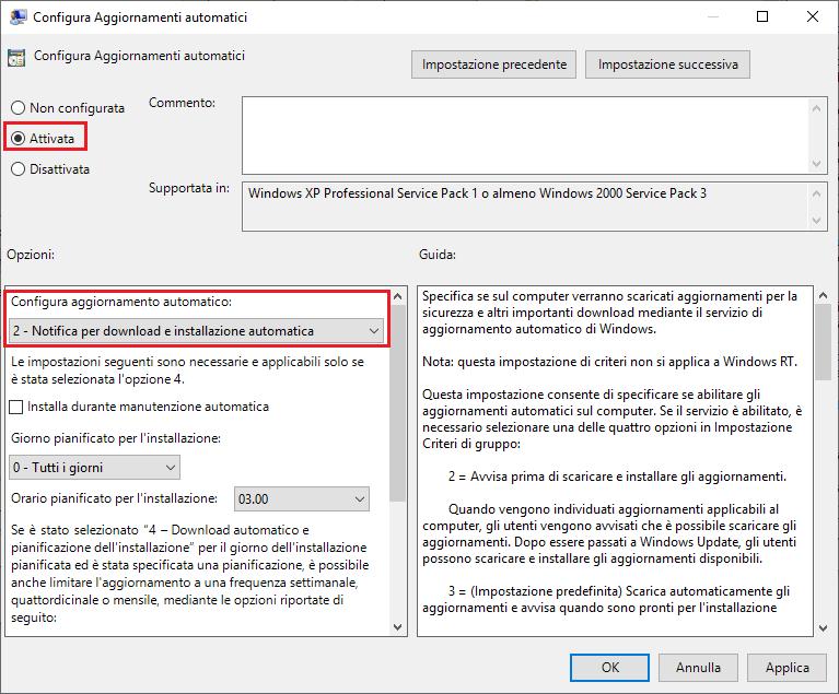 Come disattivare aggiornamenti windows 10 - Passo 4 - Criteri gruppo - Attivata