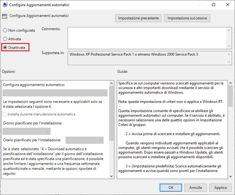 Come disattivare aggiornamenti windows 10 - Passo 4 - Criteri gruppo - Disattivata