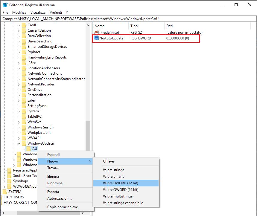 Come disattivare aggiornamenti windows 10 - Passo 8 - Regedit - dword