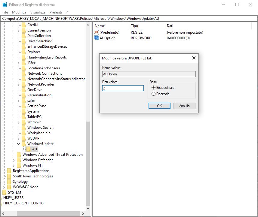 Come disattivare aggiornamenti windows 10 - Passo 9 - Regedit 2a5