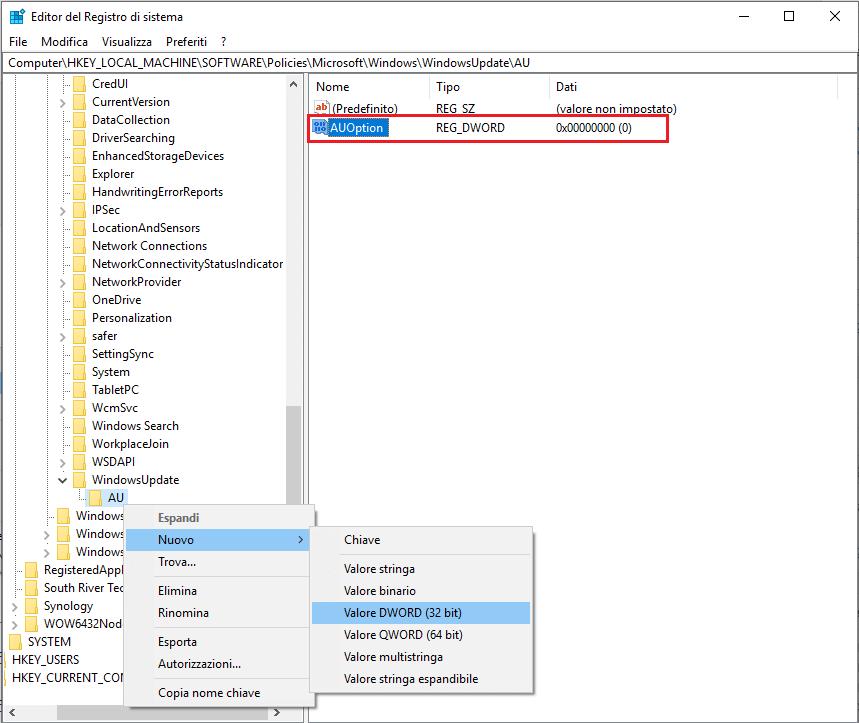 Come disattivare aggiornamenti windows 10 - Passo 9 - Regedit auoption