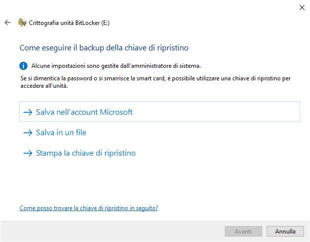 Chiavetta USB criptata - BackUp