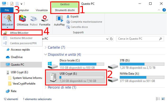 Chiavetta USB criptata - Cartella Windows 10