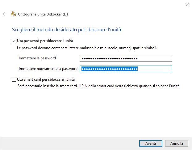 password chiavetta usb - Password